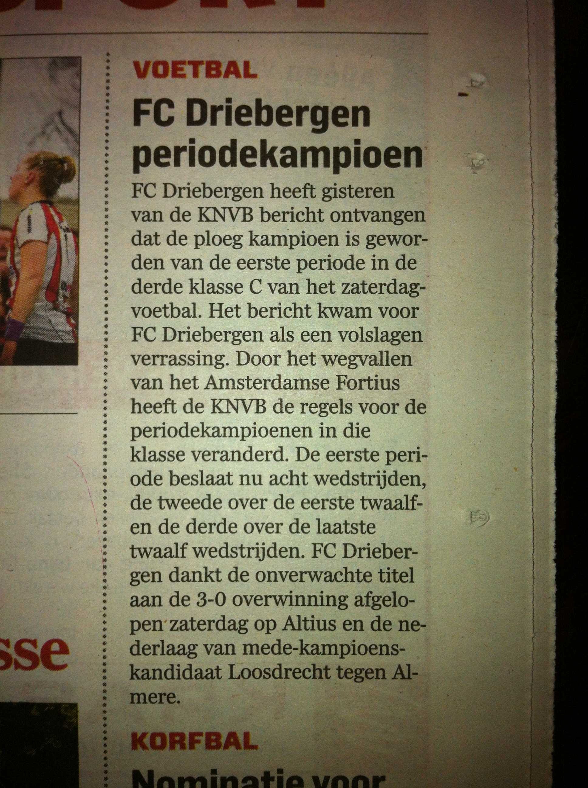 FC Driebergen pakt eerste periode
